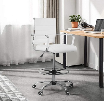 BEST WITH ARMRESTS WHITE DRAFTING CHAIR