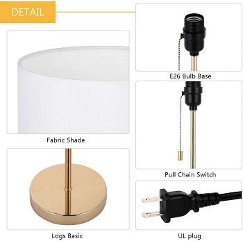HAITRAL Nightstand Table Lamp