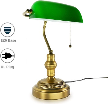 BEST ANTIQUE BRASS BANKERS LAMP