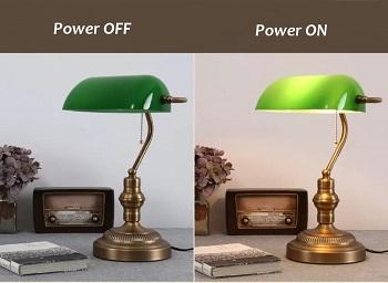 BEST ANTIQUE GREEN GLASS DESK LAMP