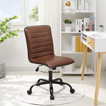BEST ARMLESS MID CENTURY LEATHER OFFICE CHAIR