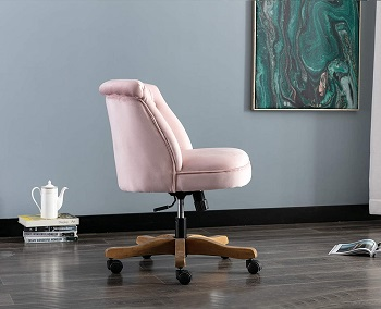 BEST ARMLESS PINK TUFTED DESK CHAIR