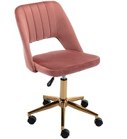 BEST ARMLESS PINK UPHOLSTERED DESK CHAIR Summary