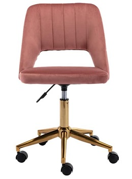 BEST ARMLESS PINK UPHOLSTERED DESK CHAIR