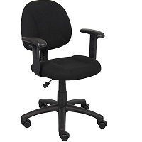 BEST BLACK ADJUSTABLE FABRIC DESK CHAIR WITH ARMS Summary
