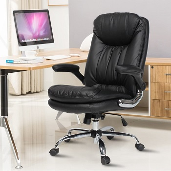 BEST FAUX LEATHER DESK CHAIR WITH ARMS