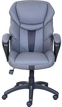 BEST GREY LEATHER DESK CHAIR WITH ARMS