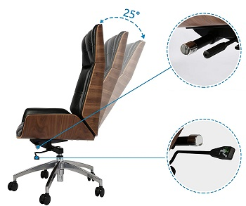 BEST LEATHER OFFICE CHAIR WITH WOOD ARMS