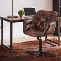 BEST NO WHEELS MID CENTURY LEATHER OFFICE CHAIR Summary