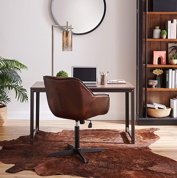 BEST NO WHEELS MID CENTURY LEATHER OFFICE CHAIR
