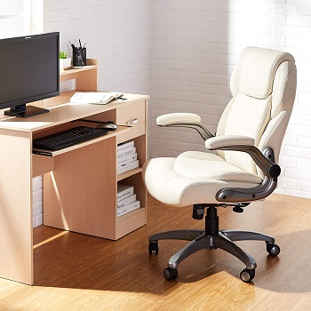 BEST OF BEST CREAM LEATHER DESK CHAIR
