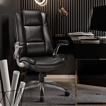 BEST STUDY BLACK LEATHER OFFICE CHAIR WITH WHEELS