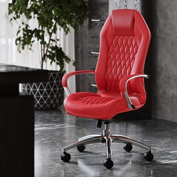 BEST TALL RED LEATHER DESK CHAIR