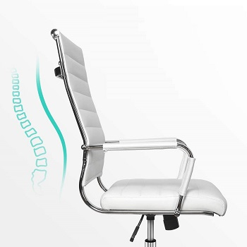 BEST WHITE LEATHER OFFICE CHAIR WITH ARMS