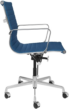 BEST WITH ARMRESTS BLUE LEATHER DESK CHAIR