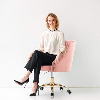BEST WITH ARMRESTS PINK TUFTED DESK CHAIR