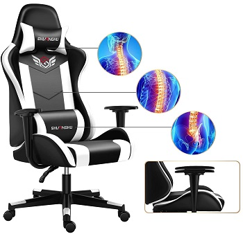 BEST WITH BACK SUPPORT BLACK AND WHITE DESK CHAIR