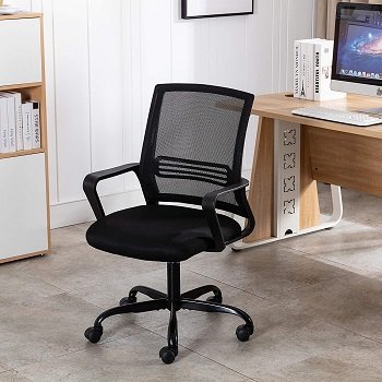 BEST WITH BACK SUPPORT BLACK UPHOLSTERED DESK CHAIR