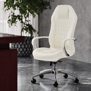 BEST WITH BACK SUPPORT CREAM LEATHER OFFICE CHAIR