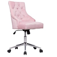 BEST WITH BACK SUPPORT PINK UPHOLSTERED DESK CHAIR Summary