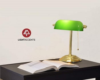 Bankers Desk Lamp with Green S