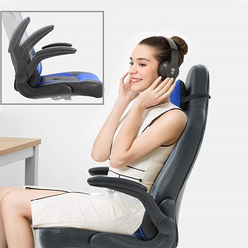 BEST OF BEST BLUE LEATHER DESK CHAIR