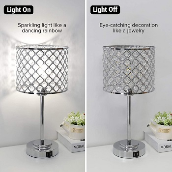 Crystal Table Lamp with 2 USB Ports