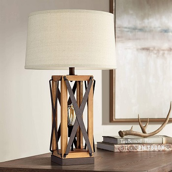 Gaines Farmhouse Style Table Lamp with Nightlight
