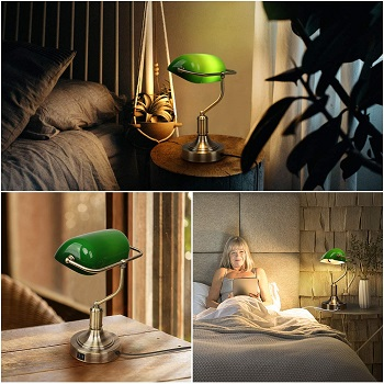 Green Glass Banker's Lamp with 2