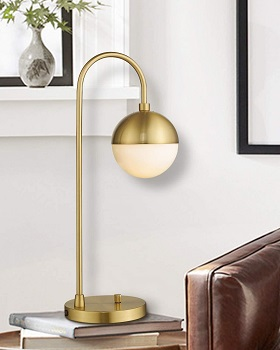 Modern Gold Table Lamp with White Glass G
