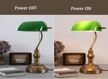 asoko Traditional Bankers Lamp, Brass Base