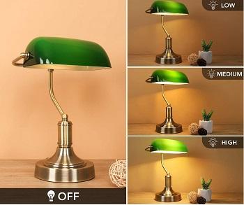 mlambert Green Glass Banker's Lamp