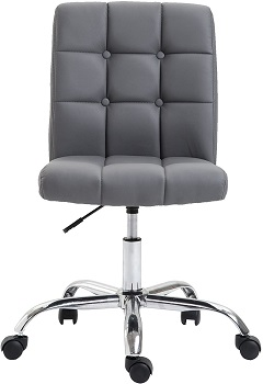 BEST ARMLESS TUFTED LEATHER DESK CHAIR