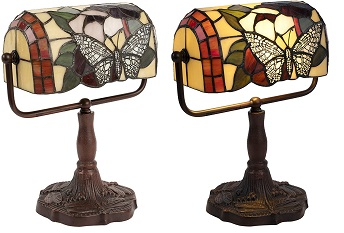 BEST BANKER'S STAINED GLASS DESK LAMP