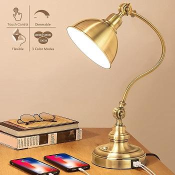 BEST VINTAGE GOLD DESK LAMP WITH USB PORT