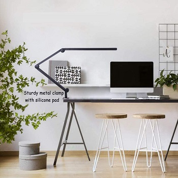 Desk Lamp with Clamp, Eye-Care Swing