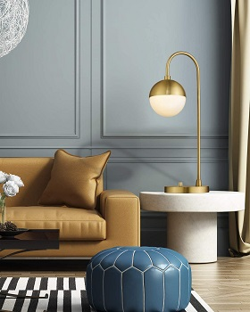 Modern Gold Table Lamp with White Glass