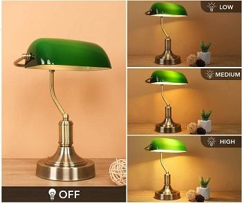 mlambert Green Glass Banker's Lamp with